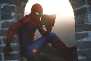 Spiderman reading in alcove Wow, I can see clearly now...